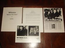"Rare Witness Uk ""Before The Calm"" 2000 Mca Records Huge Press Kit 69 pieces"