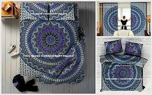 Indian Elephant Mandala Cotton Duvet Cover Bed Sheet Pillow Cover Curtains Set