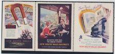 New South Wales railways Australia 1930 strip 3 Cinderella stamps uncommon
