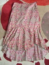 Peruvian Connection Floral Fluted Hem Pima Cotton Skirt Size Small (UK 8-10)