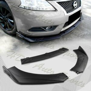 Universal Unpainted Black Front Bumper Protector Body Splitter Spoiler Lip 3PCS