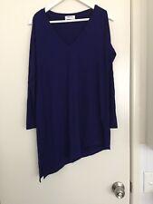 MELA PURDIE Sz 10 Blue Long Tunic Top, Cut Out Shoulder, Diagonal Hem