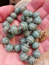 ANTIQUE VENETIAN MURANO GLASS BEAD TEAL BLUE COPPER GLITTER SWIRL NECKLACE