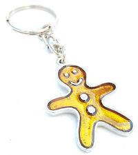 Gingerbread Man Christmas Enamel Key Ring + Gift Bag