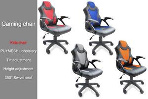 Swivel Gaming Sporty Racing Kids Office Desk Computer Chair PU+MESH Tilt
