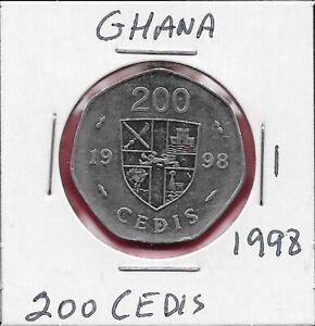 GHANA 200 CEDIS 1998 XF COWRIE SHELL,RAMPANT LOIN AT CENTER OF QUARTERED SHIELD