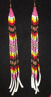 "Long 6"" Native American Style Pink Dentalium Shell Dangle  Beaded Earrings"