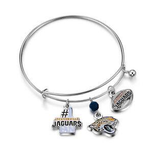 JACKSONVILLE JAGUARS NFL 3 CHARM BRACELET OFFICIALLY LICENSED FREE SHIPPING NEW