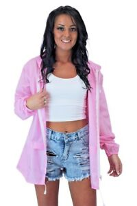 Ladies Hooded Shower Proof Light Weight Festival Rain Jacket Mac Cagoule Kagool