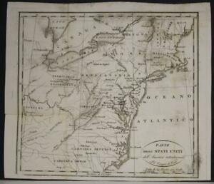 EASTERN UNITED STATES 1819 ISAAC WELD UNUSUAL ANTIQUE ORIGINAL LITHOGRAPHIC MAP