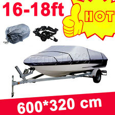 16 17 18ft Trailerable Boat Cover Waterproof Heavy Duty Fishing Ski Bass V-hull