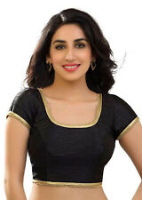 Black Polyester Raw Silk Blouse Top Choli Indian Bollywood Traditional Saree NEW