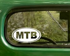 2 MTB MOUNTAIN BIKE STICKERs Oval Decal For Bumper Car Window Rv 4x4 Laptop Jeep