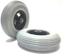 2 Stück 200x50 Rollstuhl Reifen 100% pannensicher (8x2) mit Felge Kugellager TOP