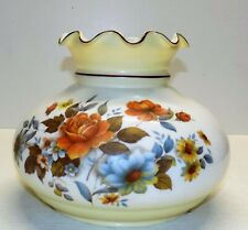 "GWTW VINTAGE LARGE (7"" FITTER )FLORAL MILK-GLASS HURRICANE RUFFLE LAMPSHADE"
