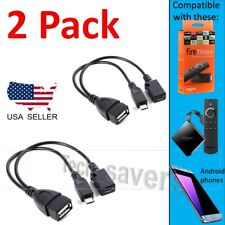 2 Pack USB PORT OTG cable for Amazon FIRE 2016 - 2018 models Sticks or Fire TV3