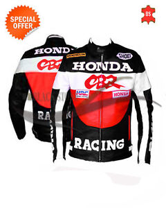 Racing red cbr motorbike leather jacket motorcycle ce armored apparel all sizes