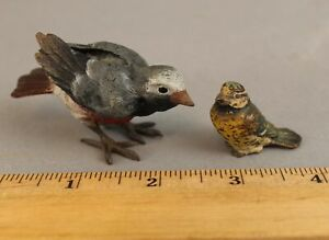 2 Antique Early 20thC Austrian Miniature Cold Painted Bronze Birds, NR