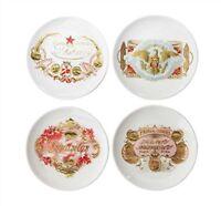 "4"" Round Stoneware Vintage Cigar Label CANAPÉ Plates - Set of 4 - Creative Co-op"