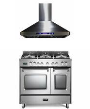 "Verona Prestige Series 36"" Dual Fuel Range Double Oven Stainless Steel With Hood"