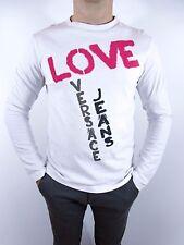 VERSACE Designer Mens White Logo Casual Cotton Long Sleeve Blouse Top sz L BI40