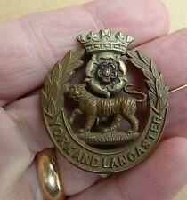 "WW1- WW11 BRITISH YORK AND LANCASTER REGIMENT ""YORKS  & LANCS"" HAT CAP  BADGE"