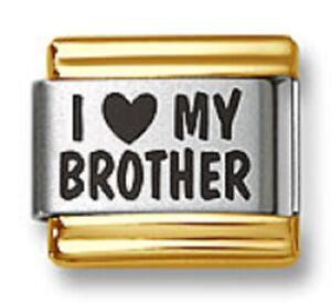Italian Charm Bracelet Link Laser I Heart My Brother Gold Trim Stainless Steel
