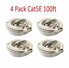 4x Cat5E Network Ethernet LAN Video/Power Cable for CCTV IP Camera Wi-Fi  100ft