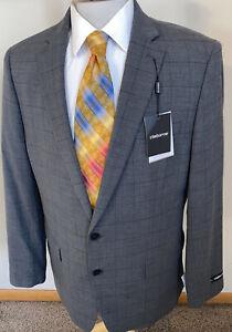 NEW Claiborne Sz 46S Gray Windowpane Plaid Sport Coat Blazer Jacket NWT $260