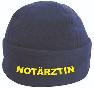 Notärztin oder Notarzt Fleece Mütze / Cap in navy blue