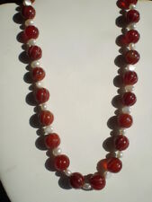 Vintage Hand-Carved/Natural Red Carnelian Agate/Pearl Bead Necklace/Sterling
