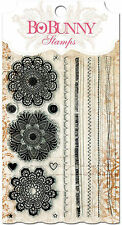 Lace Doily Stitches Clear Unmounted Rubber Stamps Set BOBUNNY 10105428 New