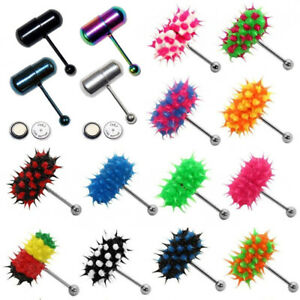 Fashion Women Men Vibrating Silicone Tongue Ring Bar Stud Piercing + 2 Batteries