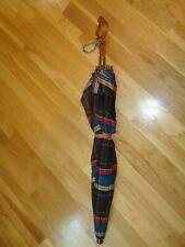 New listing Terrific Vintage Plaid Waterproof Material Umbrella-Lucite Handle-Wood Rod