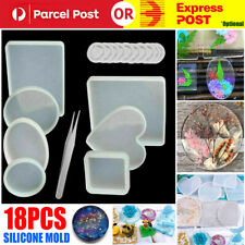 18Pcs Resin Casting Molds Silicone Mold Pendant Tray Jewelry Mould Craft Kit AU