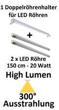 2 x 20 Watt HIGH LUMEN LED-Röhre T8 Kaltweiß 150 cm mit DOPPEL LED Röhrenhalter