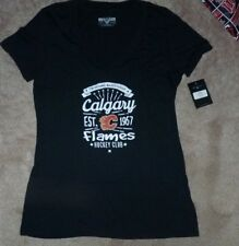 NEW NHL Calgary Flames Ice Hockey T Shirt Women L Large V Front (meas small) NWT
