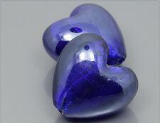 2x große Glasperlen Silberfolie Herz blau 28mm mu574