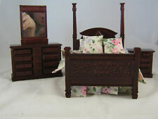 "Pillar Bed Set dollhouse furniture 1"" scale   4pc T3414"