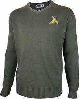 Pheasant Embriodered Shooting V Neck Wool Jumper Hunting Sweater Pullover