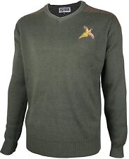 Pheasant Embroidered Shooting V Neck Wool Jumper Hunting Sweater Pullover