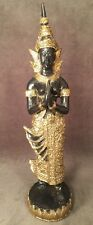 Sino Tibetan Praying Standing Tara Buddha Black Gold Gilt Bronze Chinese Statue