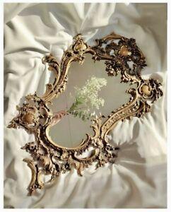 19TH CENTURY BEAUTIFUL ANTIQUE FRENCH ROCOCO STYLE GILT BRASS ORMOLU WALL MIRROR