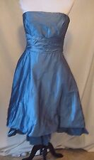 Lazaro Silk Dress, NWT $316 Formal Bridesmaid BlueTie Back Strapless, Size 12
