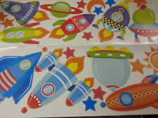 2 SET Colorful Spaceship Rocket Ship Boy Wall Decal Room Decor Out of this World