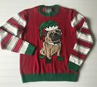 Ugly Christmas Sweater Size Small Elf Pug Long Sleeve Red White