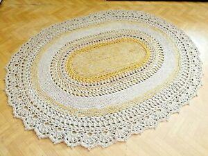 Bohemian hand Crochet jute oval rug bedroom living room etc