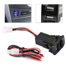 Dual USB Port Socket Charger Blue Light For Honda Smartphone Mobile 3.1A 5V
