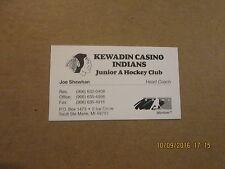 NAHL Kewadin Casino Indians Junior A Hockey Club Busines Card