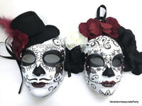 High Fashion Top Quality Couple Masquerade Ball metal Skull Red Devil Mask Pair
